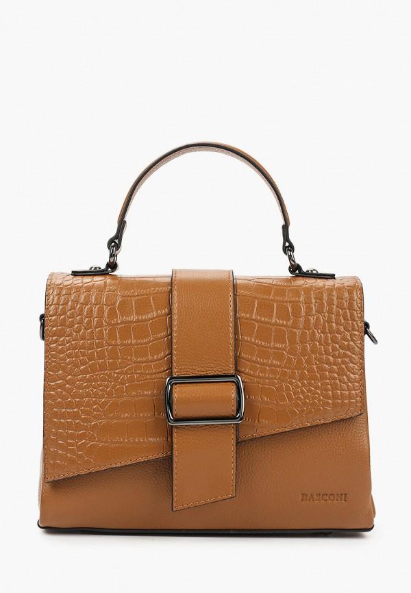 женская сумка с ручками basconi, коричневая