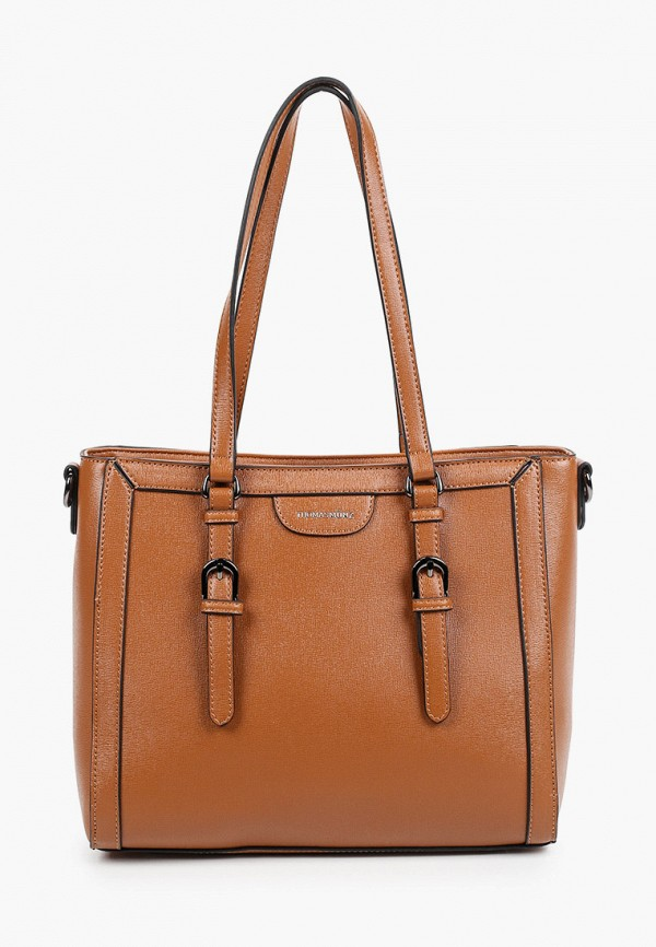 женская сумка с ручками thomas munz, коричневая