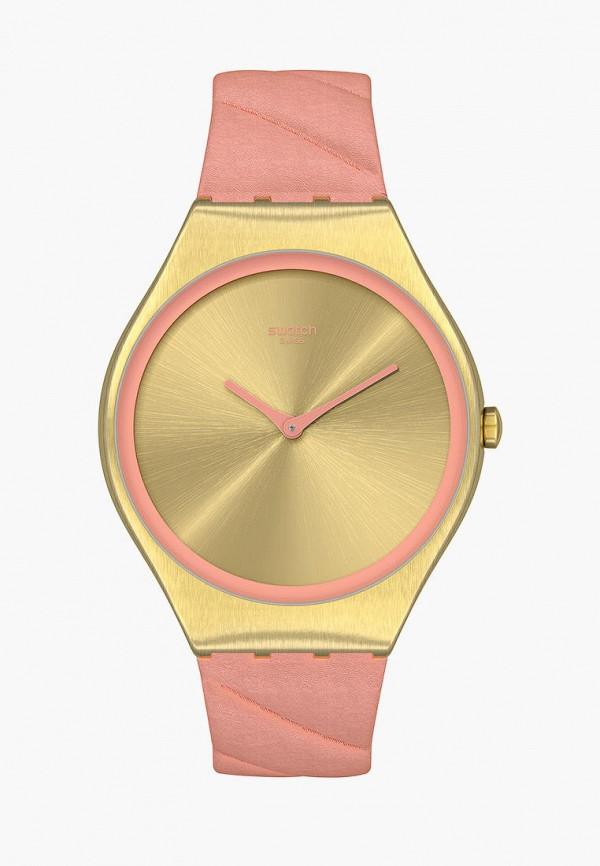 женские часы swatch, розовые