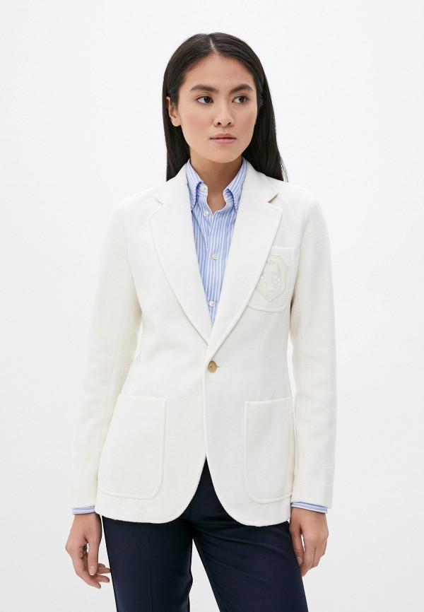 женский пиджак polo ralph lauren, белый