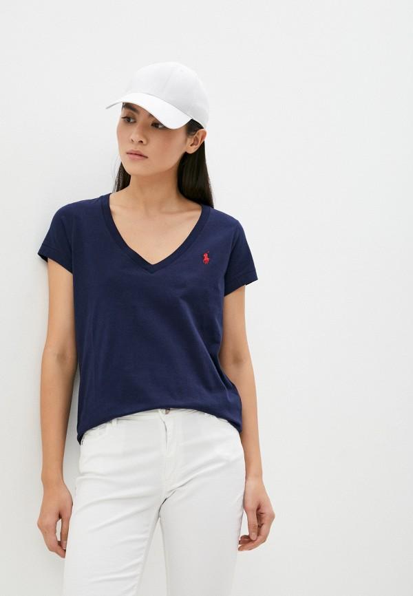 женская футболка polo ralph lauren, синяя