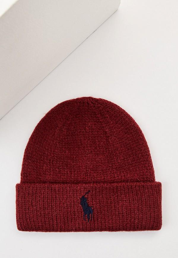 женская шапка polo ralph lauren, бордовая