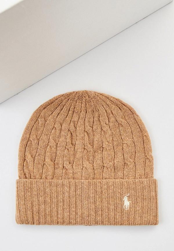 женская шапка polo ralph lauren, бежевая