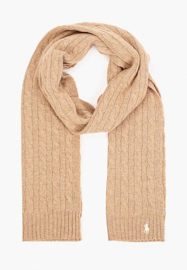 женский шарф polo ralph lauren, коричневый