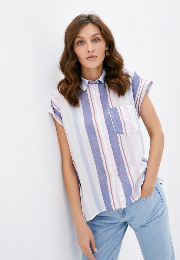 женская рубашка с коротким рукавом colin's, синяя