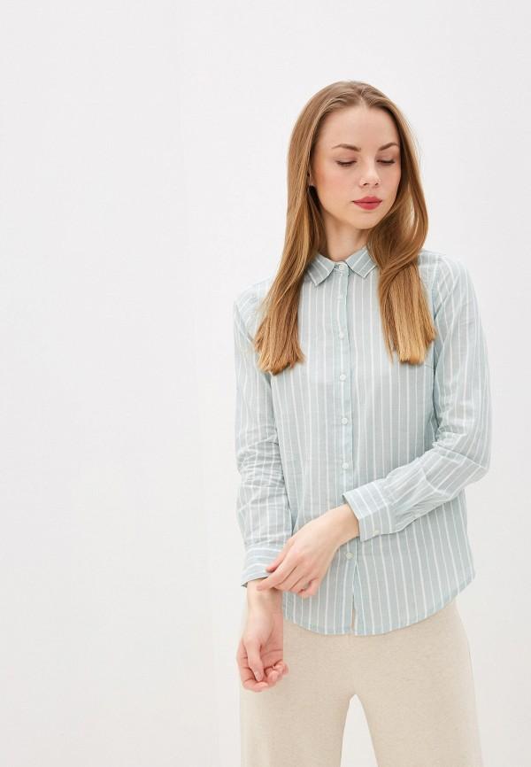 женская рубашка с длинным рукавом colin's, бирюзовая