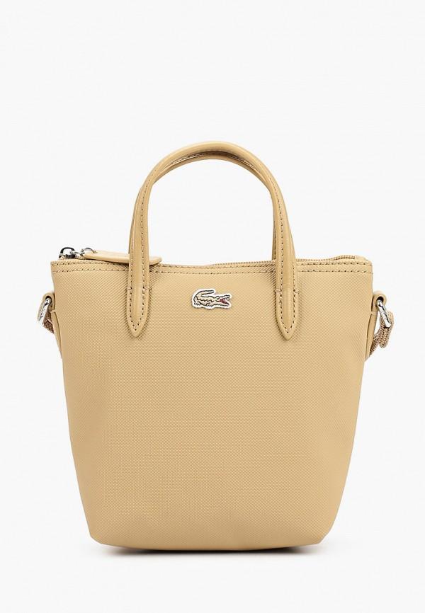 женская сумка с ручками lacoste, бежевая
