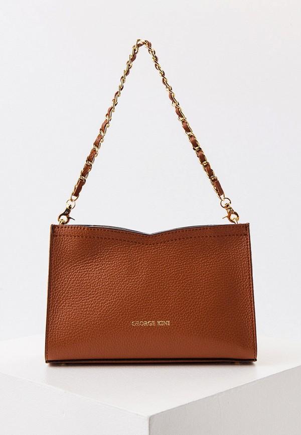 женская сумка с ручками george kini, коричневая