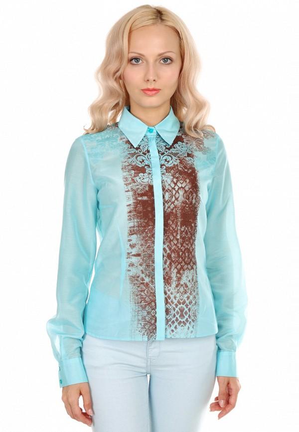 женская рубашка с длинным рукавом city jungle, голубая