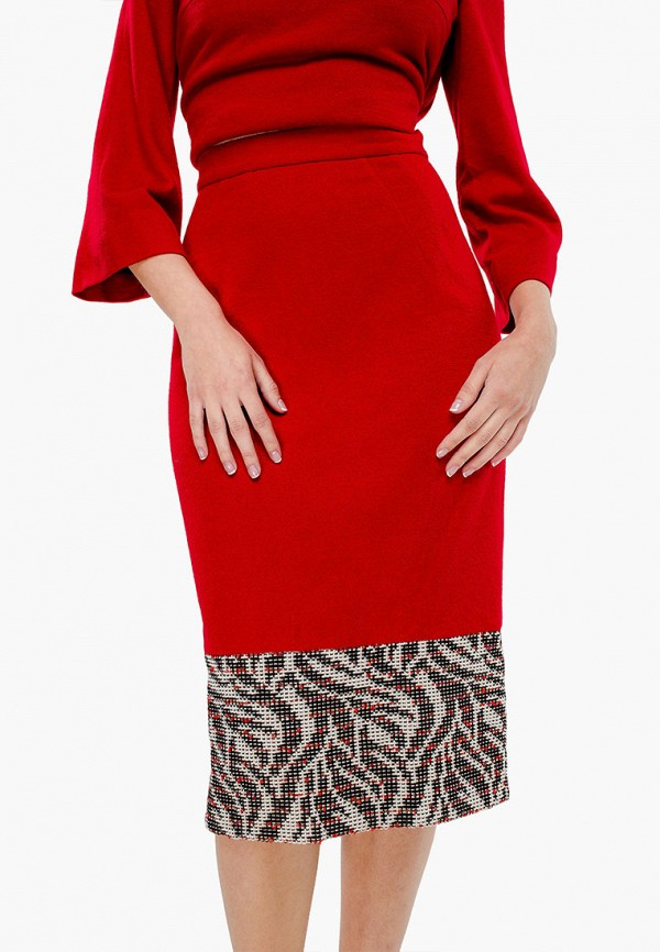 женская прямые юбка nai lu-na by anastasia ivanova, красная
