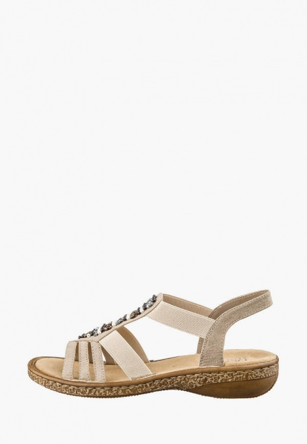 женские сандалии rieker, бежевые