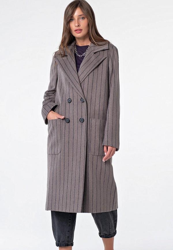 женское двубортные пальто fly, коричневое