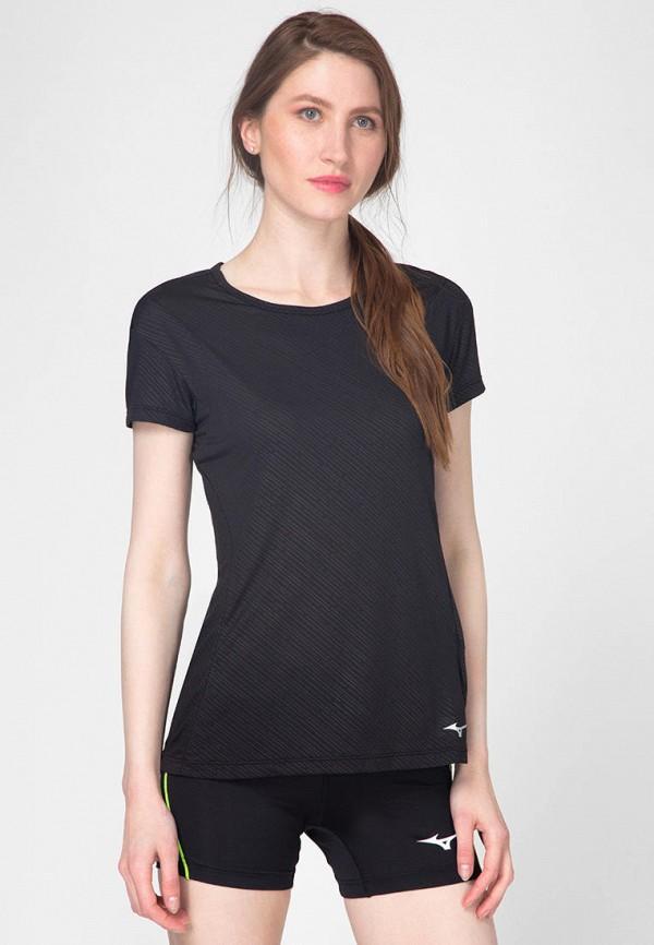 женская спортивные футболка mizuno, черная