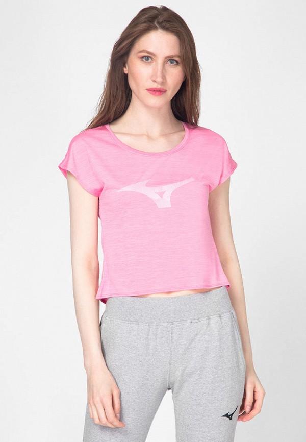 женская спортивные футболка mizuno, розовая