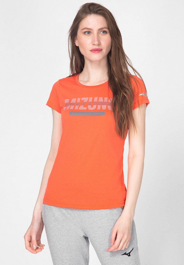 женская спортивные футболка mizuno, оранжевая