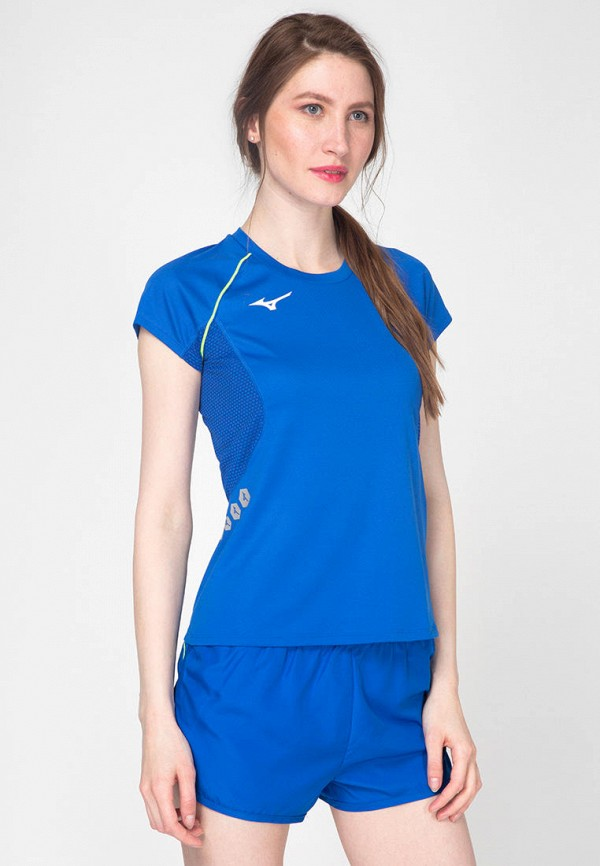 женская спортивные футболка mizuno, синяя
