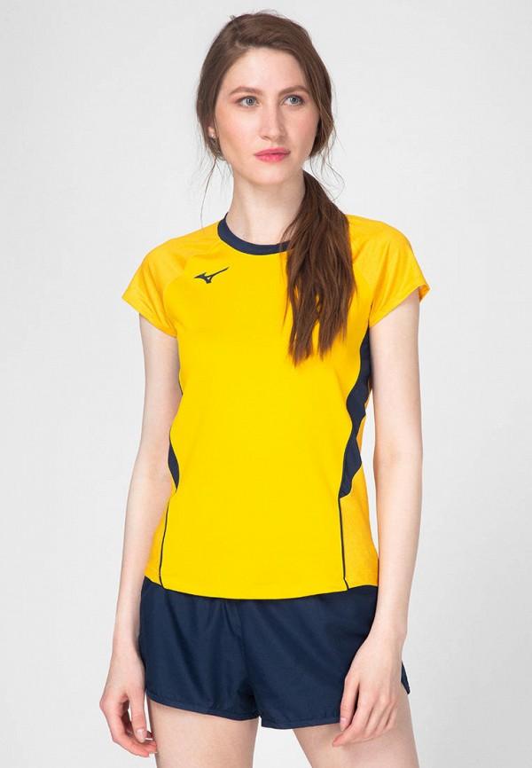 женская спортивные футболка mizuno, желтая