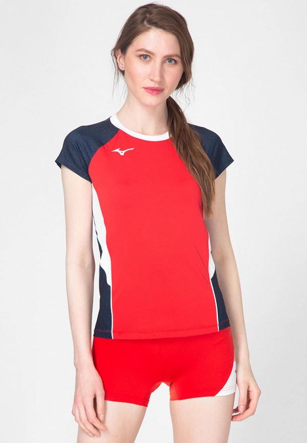 женская спортивные футболка mizuno, красная