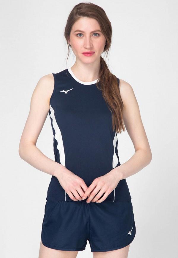 женская спортивные майка mizuno, синяя