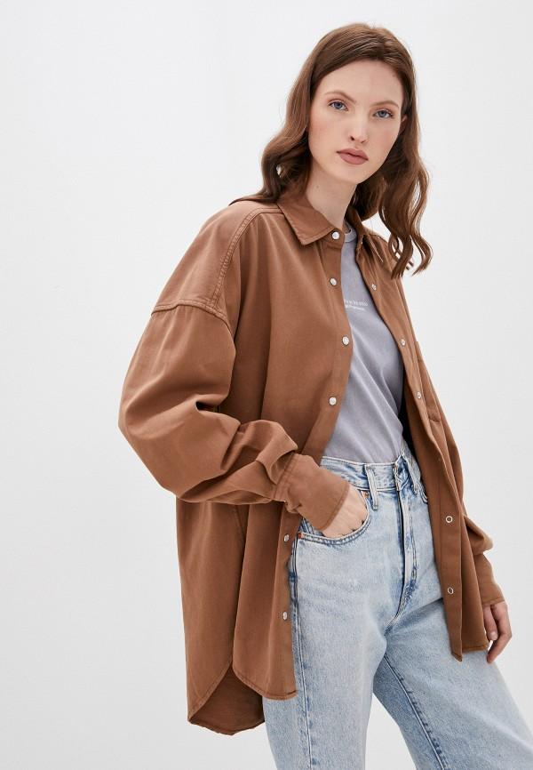 женская рубашка с длинным рукавом befree, коричневая