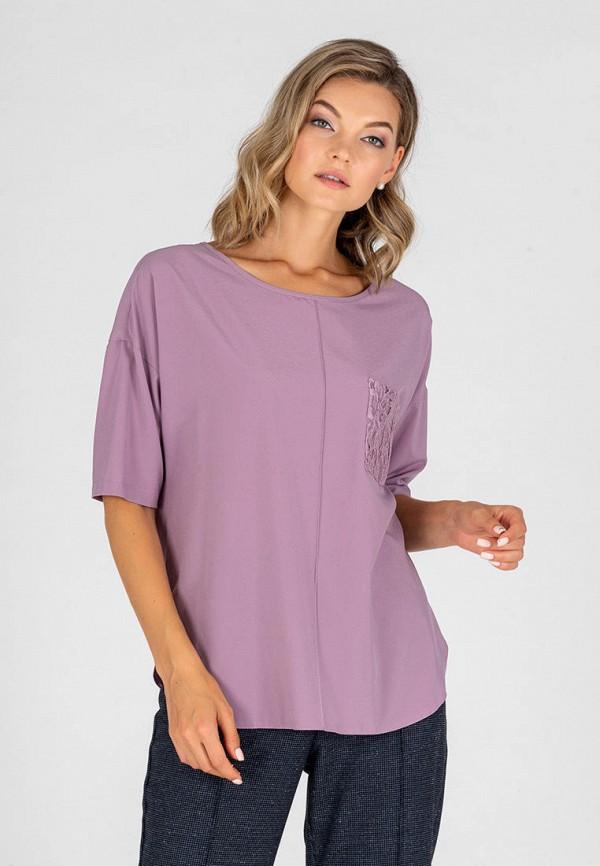женская блузка с коротким рукавом eliseeva olesya, фиолетовая