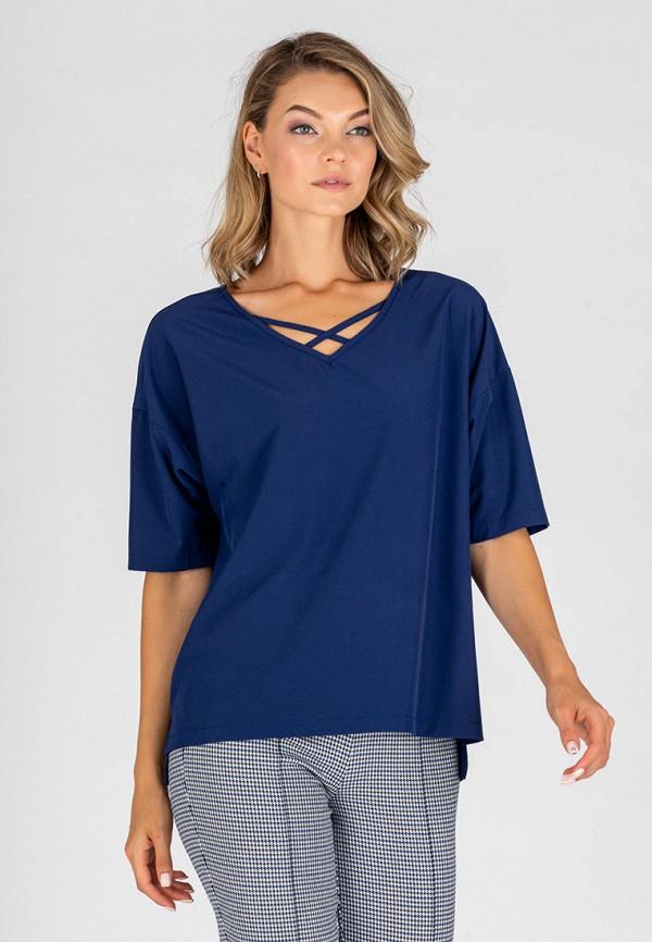 женская блузка с коротким рукавом eliseeva olesya, синяя
