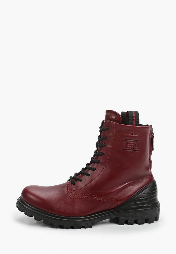 женские высокие ботинки ecco, красные