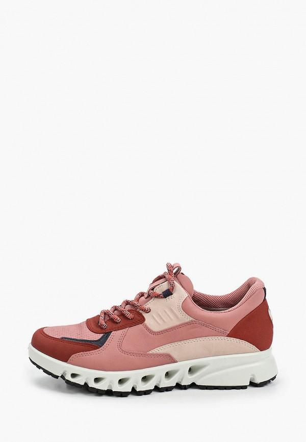 женские низкие кроссовки ecco, розовые
