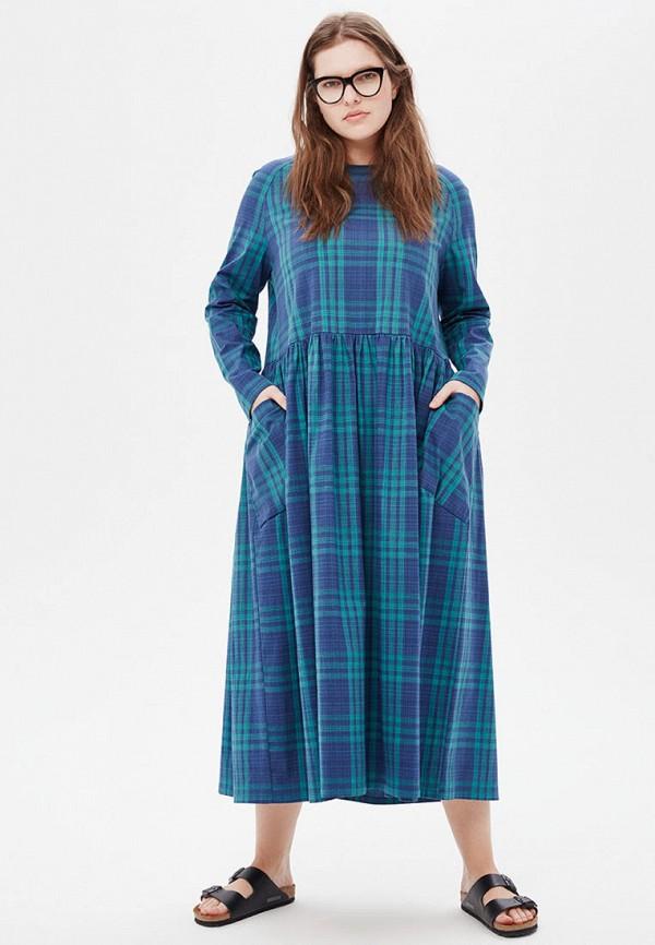 женское платье миди w&b, бирюзовое