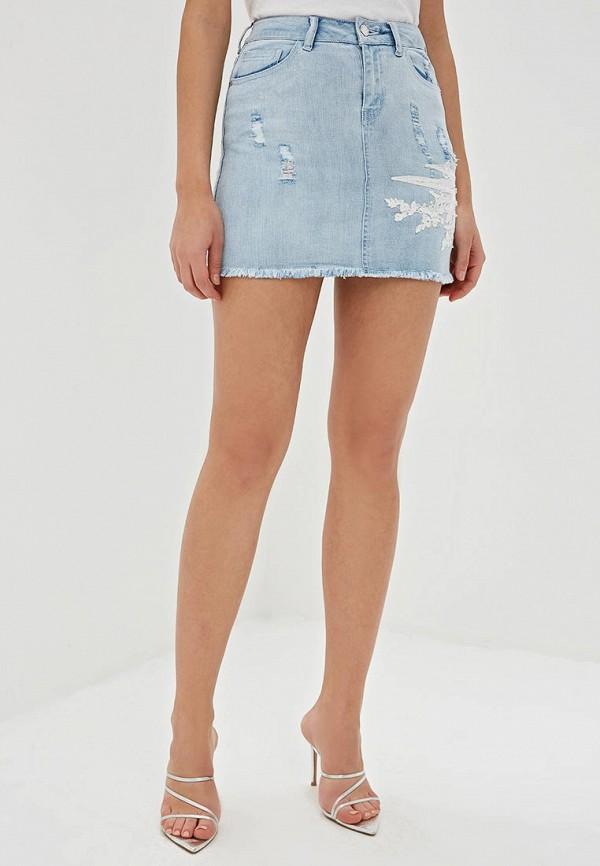 женская джинсовые юбка love republic, голубая