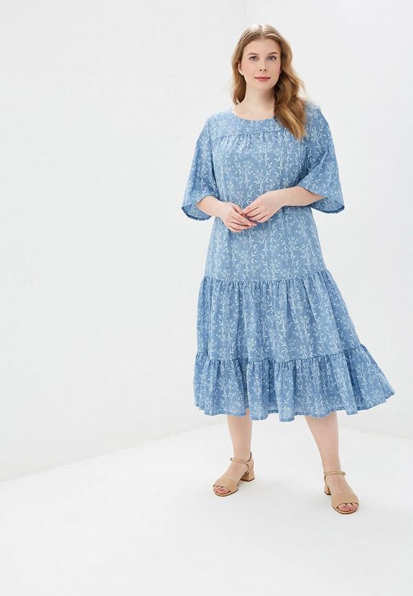 женское повседневные платье авантюра plus size fashion, голубое