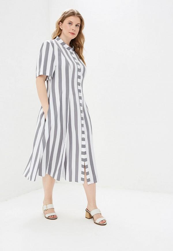 женское повседневные платье авантюра plus size fashion, серое