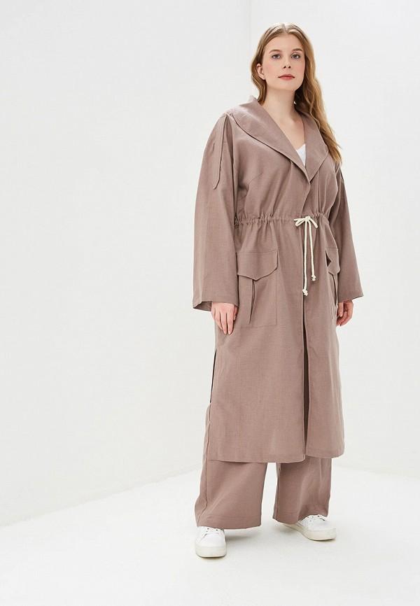 женский плащ авантюра plus size fashion, коричневый