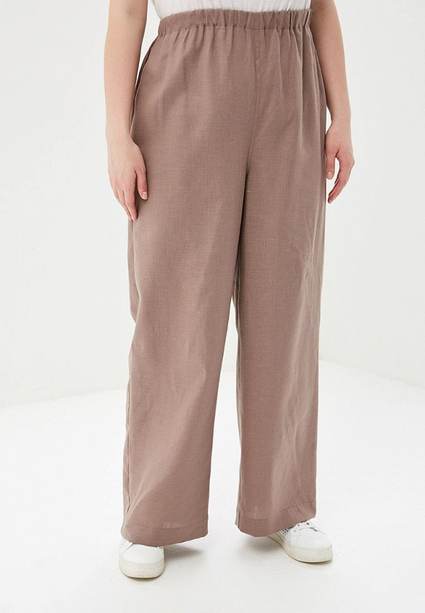 женские брюки клеш авантюра plus size fashion, коричневые