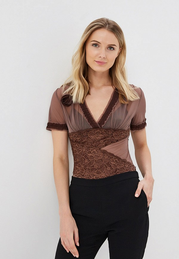 женская блузка el fa mei, коричневая