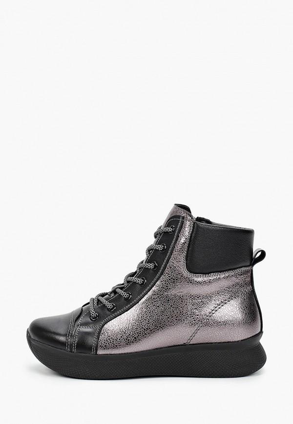 женские высокие ботинки ed'art, серебряные