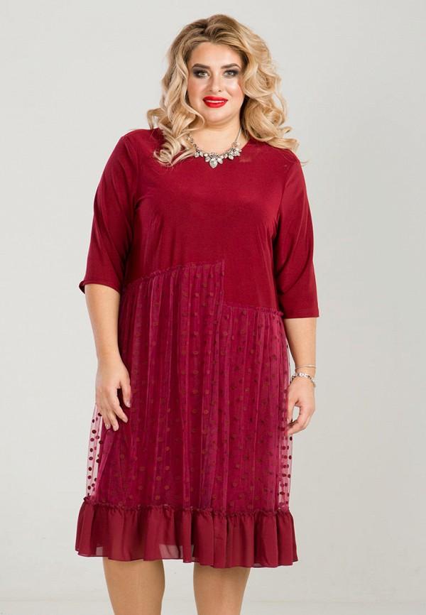 женское платье luxury plus, бордовое