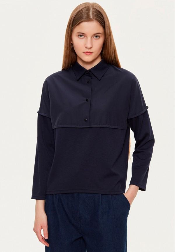 женская рубашка с длинным рукавом base forms, синяя