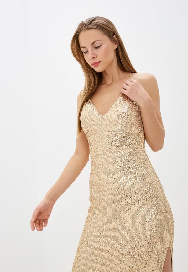 Фото 2 - Женское вечернее платье Joymiss золотого цвета