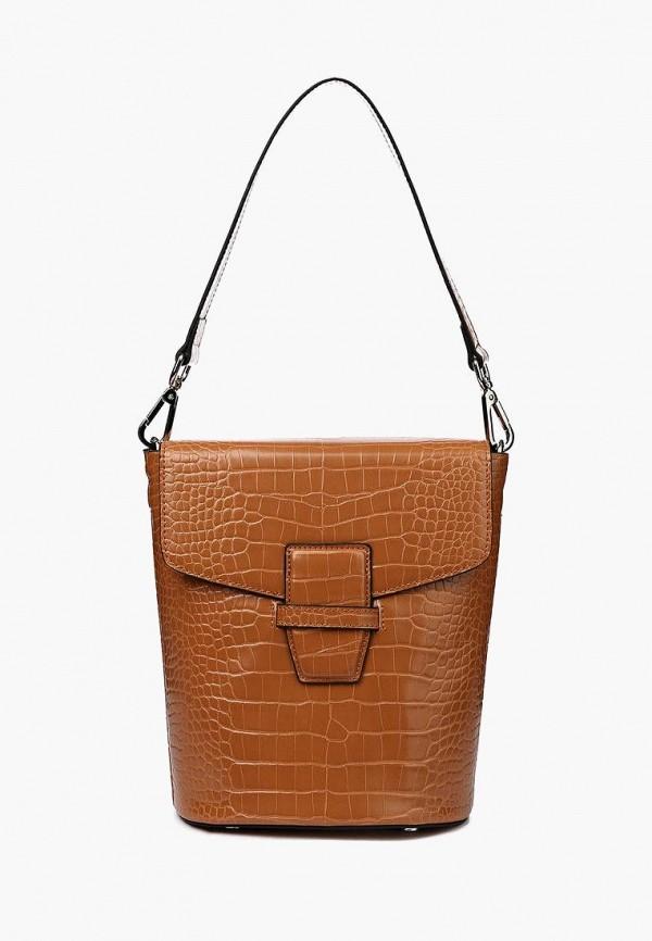 женская сумка с ручками portal, коричневая