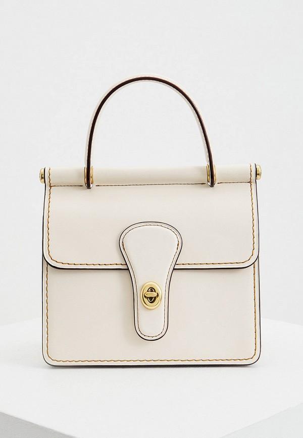 женская сумка через плечо coach, белая