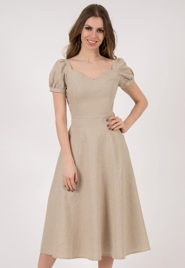 женское платье миди olivegrey, бежевое