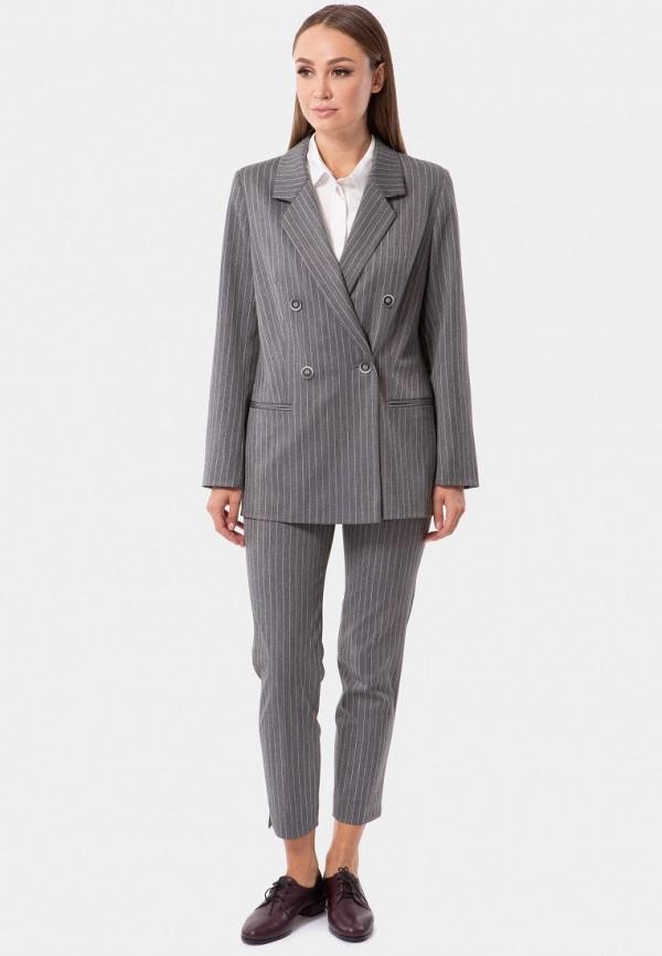 Фото 4 - Женские брюки Vladi Collection серого цвета