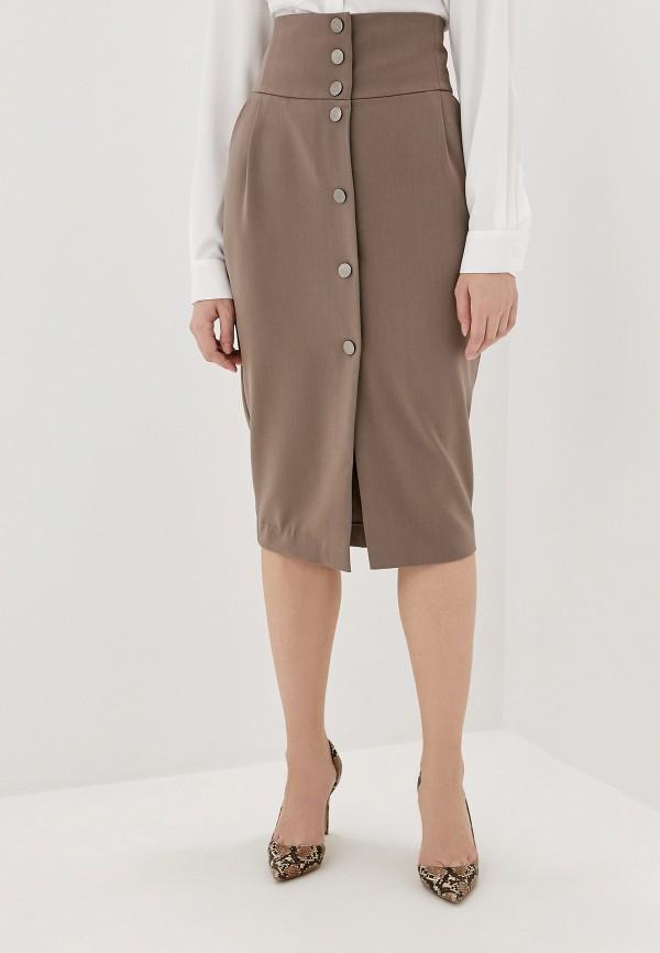 женская юбка миди lezzarine, бежевая