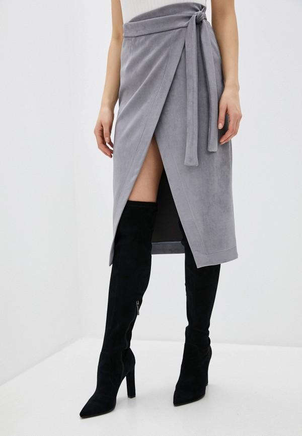 женская юбка миди thavenue, серая