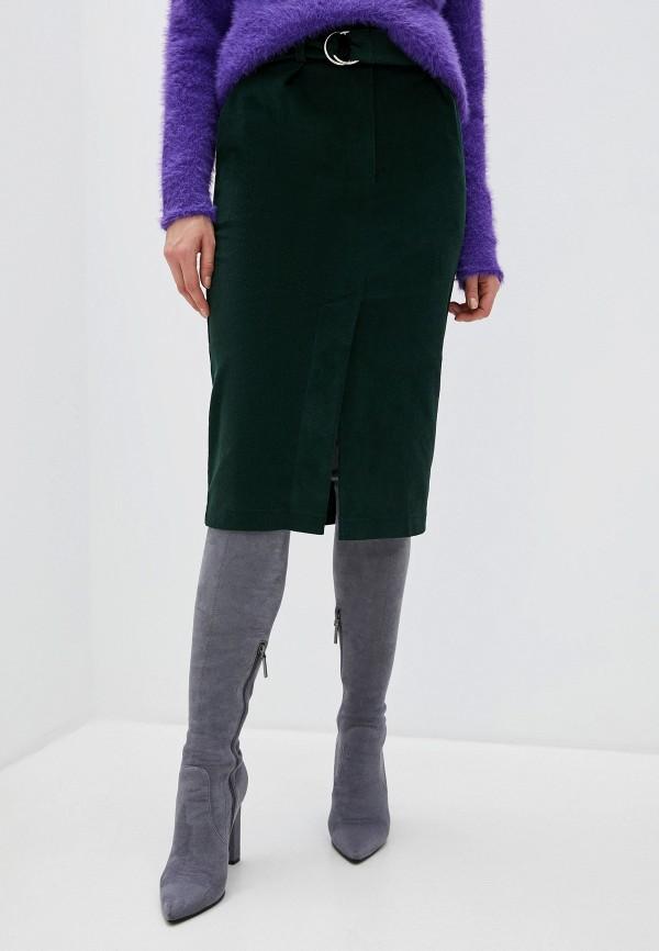 женская юбка миди thavenue, зеленая