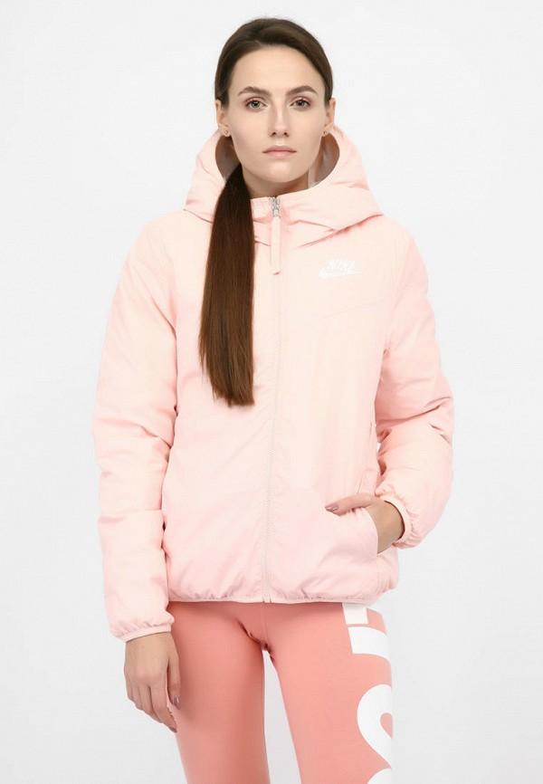 женский пуховик nike, розовый