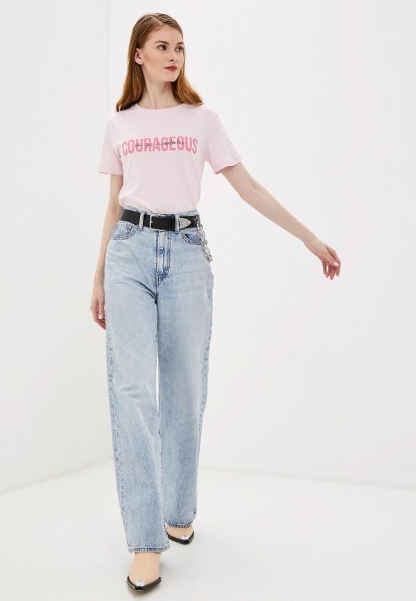Фото 2 - Женскую футболку Befree розового цвета