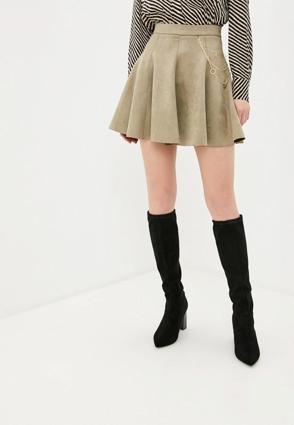 женская юбка-трапеции love republic, хаки