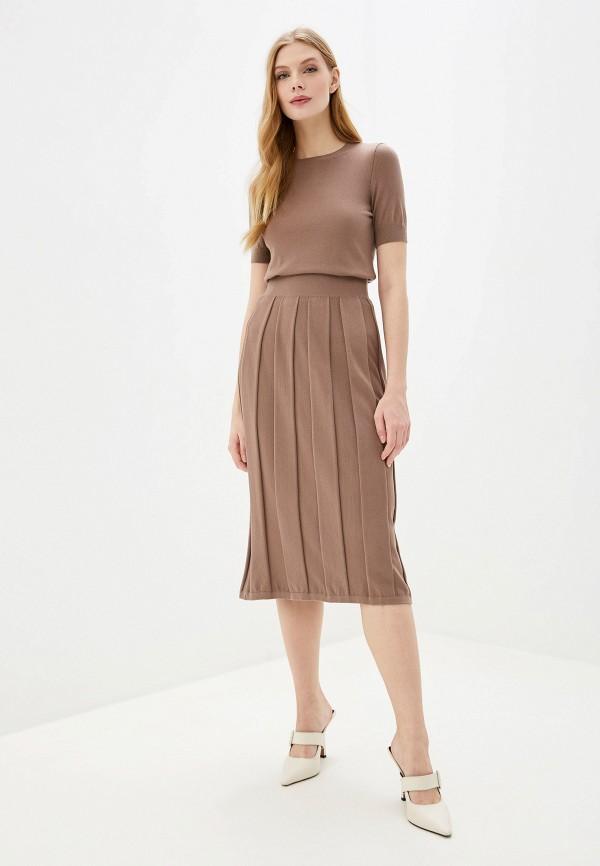 женский вязаные костюм wool studio, коричневый